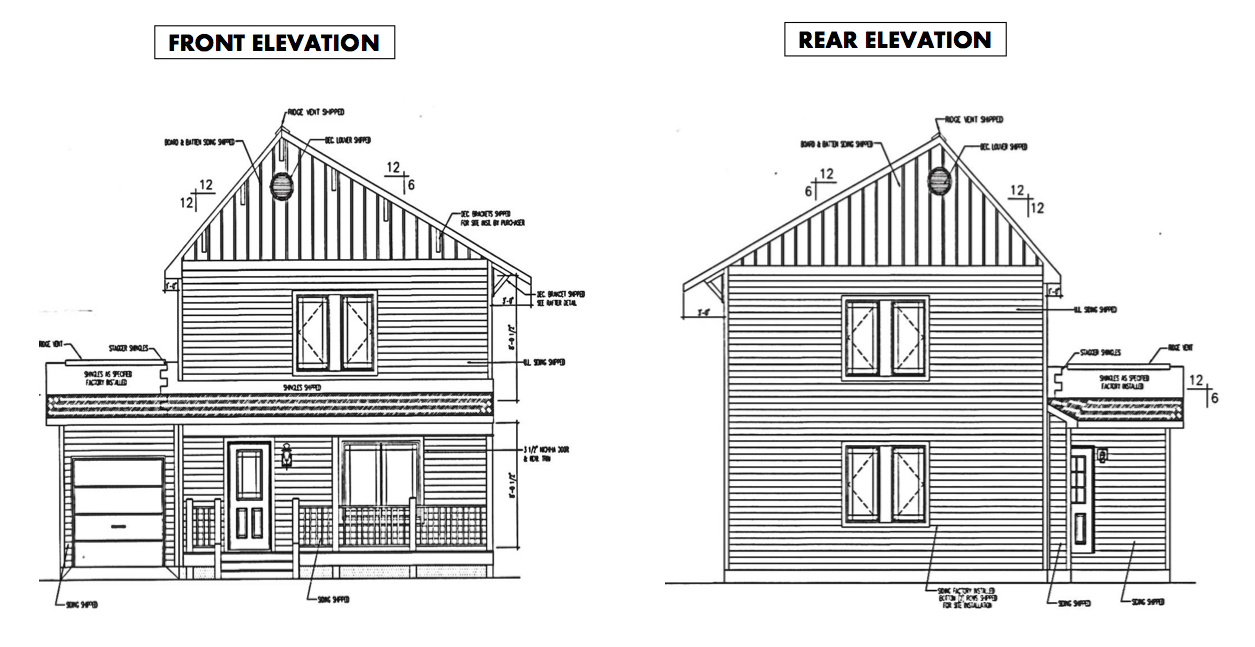 Front and back elevation of Net Zero Energy Home